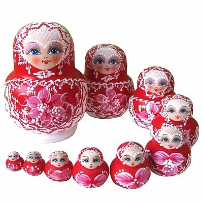 10PCS Wooden Russian Nesting Dolls Braid Girl Traditional Matryoshka Dolls V6S1