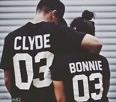 US Seller T-Shirt Bonnie 03 and Clyde 03 Lover Matching Shirts Couple Tee Tops