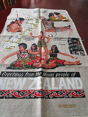 All Pure Linen Tea Towel - Greetings From The Maori People Of N.z.