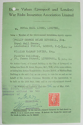 Royal Mail Lines War Risks Certificate Stamped With Companies Embossed Seal