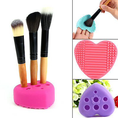Silicone Cleaners Egg Cleaning Glove Cosmetic Brush Scrubber Board Heart Shaped