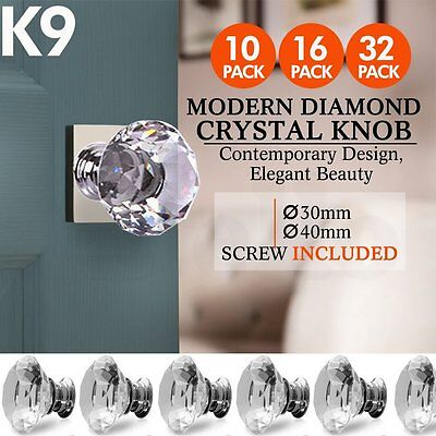 30/40mm Round Diamond Clear Crystal Glass Door Pull Drawer Knob Handle Cabinet I