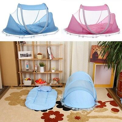 Portable Foldable Baby Kids Infant Bed Dot Zipper Canopy Mosquito Net Tent BY