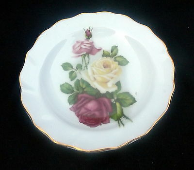 Duchess Pin Dish White With Gold trim With Yellow & Pink Roses. Size 11.5 cm