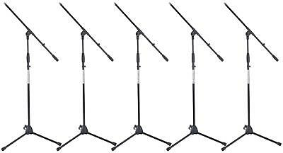 5x Professional Microphone Mic Boom Stand Holder Tripod Adjustable Robust Black
