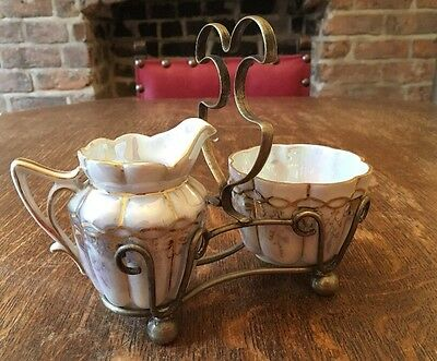 Vintage Pearlescent Bone China Milk Jug And Sugar Bowl In A Stand
