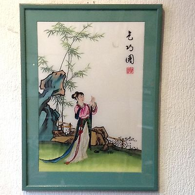 Authentic Chinese Lady Silk Embroidery Hand Stitched