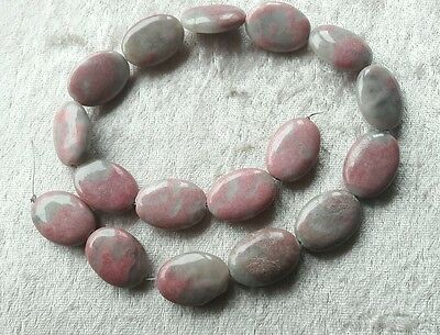 1 LOT DE 17 Perles en Rhodonite 25 mm ovale