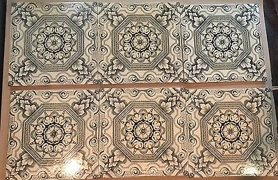 6 ANTIQUE VINTAGE  VICTORIAN BEAUTIFUL DESIGN TILE STAFFORDSHIRE No. 632