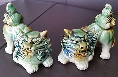 "A Pair of 19th Century Mirror Imaged Chinese Glazed Pottery 4"" Ornamental Tigers"