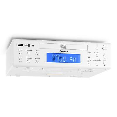 Auna Kitchen Radio Counter Fm Tuner Alarm Remote Usb Cd Audio White *free P&p*