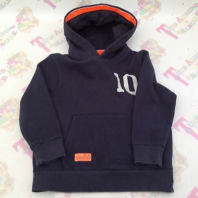 Next Boys Navy Blue And Orange Sweat Hoodie Cardigan Age 5