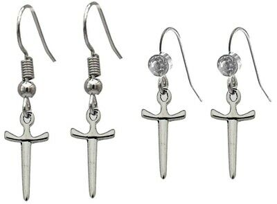 SWORD Silver Plated Rhinestone OR Plain Hook Earrings Dagger Medieval Gothic
