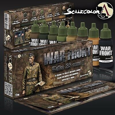 FARBEN SET Waffen SS Tarnung I SSE-023 Acrylfarben Scale 75 Airbrush Pinsel