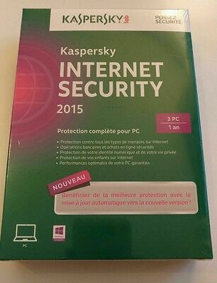 Kaspersky Internet Security 2015 - 1 an / 3 PC - Protection complète NEUF