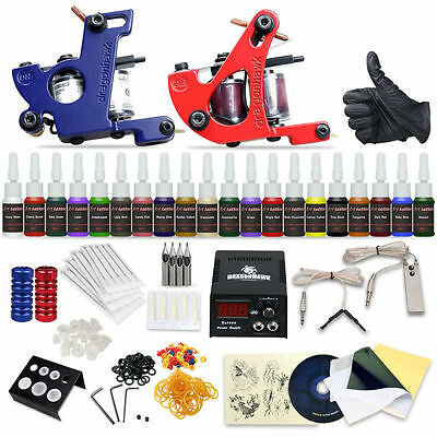 Professional Tattoo Kit 2 Machine Gun 20 Color Inks Power Supply Complete Tattoo