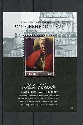 Nevis 2015 MNH Events Papacy Pope Benedict XVI Sede Vacante 1v S/S Popes Stamps