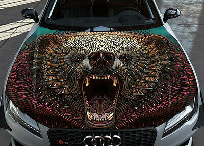 Grizzly Car Bonnet Wrap Full Color Vinyl Sticker Decal Fit Any Car