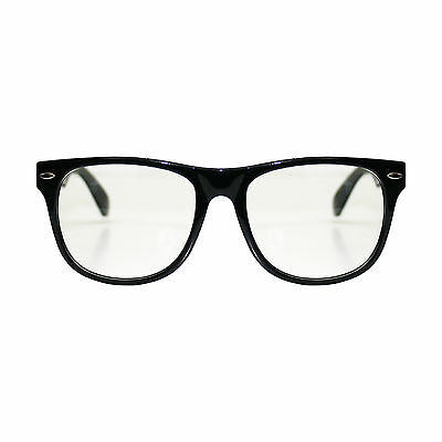 Adults / Kids Black Clear Wayfarer Geek Fancy Dress Glasses (WORLD BOOK DAY)