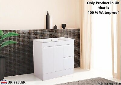 900mm Bathroom Vanity Unit and Ceramic Basin with Soft Closing Door Gloss White