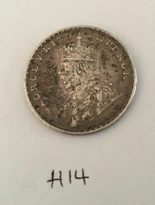 Antique Fine Silver One Rupee British India 1918 King George Coin H14 Uncleaned