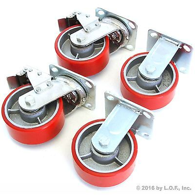 "4 Red Wheel Casters Set 5"" Wheels Swivel Heavy Duty Iron Hub No Mark 2 Brake New"