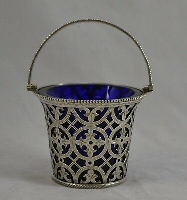 Antique Edwardian Solid Sterling Silver Cream Pail Blue Glass Liner