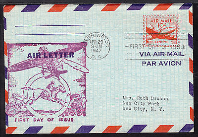 1947 WASHINGTON, DC., #UC16 10c AIR LETTER FIRST DAY CACHET
