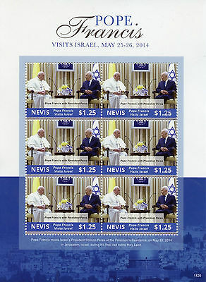 Nevis 2014 MNH Pope Francis Visits Israel 6v MS II President Shimon Peres Stamps