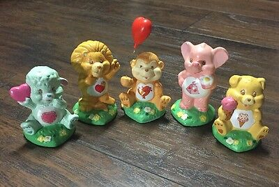 "Cute Set of (5) Vintage 1985 ""Care Bear Cousins"" Collectible Ceramic Figures GVC"