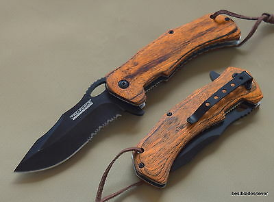 Tacforce Wood Handle Spring Assisted Knife With Pocket Clip - 8.5 Inch Overall