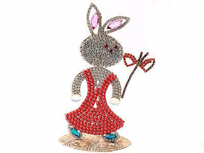 Standing large bunny rabbit flowers Easter ornament Czech glass rhinestone red