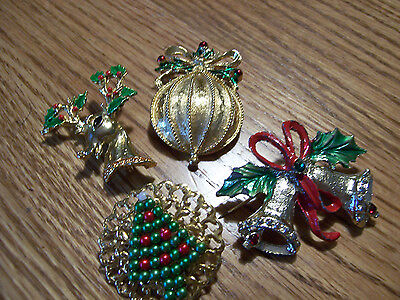 FOUR Usigned Vintage Christmas Theme Brooches -Bell,Reindeer,Ornament & Tree