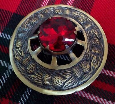 """Scottish Fly Plaid Brooch Red Stone Antique Finish 3""""/Red Stone Brooches Antique"""