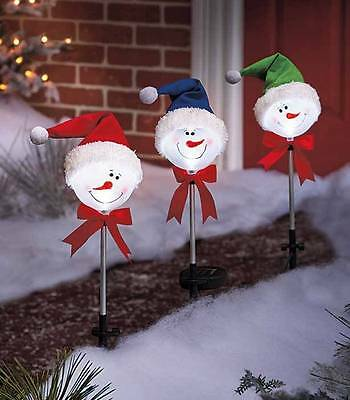 SET OF 3 Snowman Solar Lighted Yard Stakes Outdoor Christmas Decorations Lights