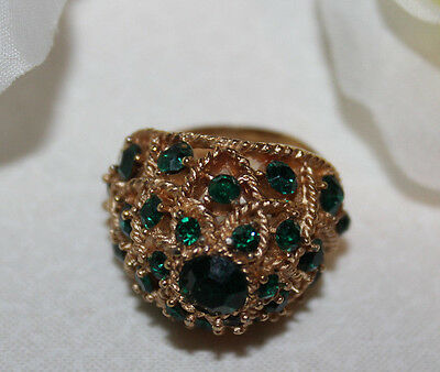 Gorgeous Crown Trifari Signed Domed Ring With Green Stones-Stunning!!!!!