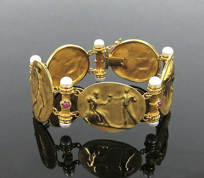 Vintage Tagliamonte Italy 0.75ct Ruby & Pearl 18K Gold Cameo Bracelet