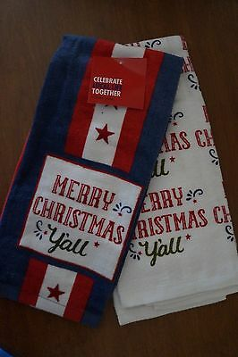 "NEW Set of 2 ""Merry Christmas y'all"" Kitchen Towels Texas Flag Xmas Holiday"