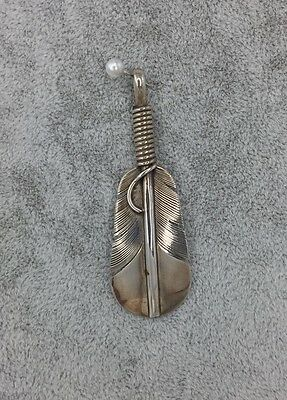 Lena Platero signed Sterling Silver Feather Pendant Navajo