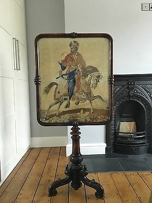 Antique Old Rosewood Fire screen Middle Eastern Persian Horseman Embroidery