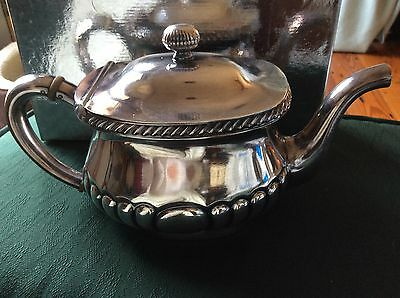 Reed and Barton Marked U.S.N. Silver Plate Tea Pot Gadroon Pattern/Vintage/Heavy