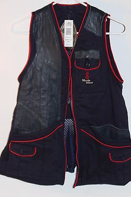She Safari Rhode Gold Vest Shooting Trap Skeet Style# R3001 Women's Sm Blue Nwt