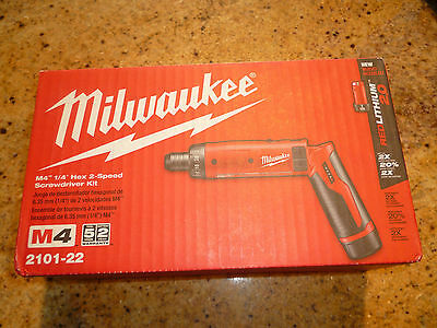 "Milwaukee Elec Tool Corp M4 2-Speed 1/4"" Hex Screwdriver W/2 Bat"
