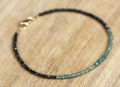 Natural Alexandrite and Diamond Look Black Spinel Bangle Solid 14K Yellow Gold