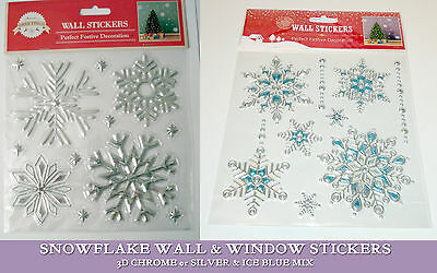 Chrome Silver/Blue SNOWFLAKES Window & Wall STICKERS 3D DESIGNS Christmas DECOR