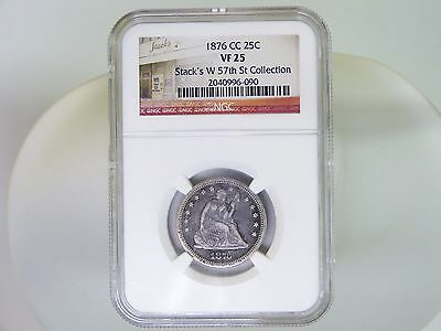 1876 Cc 25 Cent Vf25 Ngc Seated Liberty Quarter Silver Coin