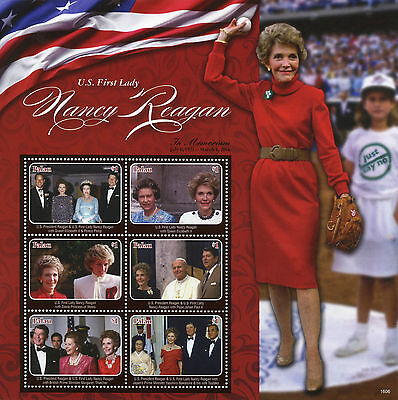 Palau 2016 MNH US First Lady Nancy Reagan 6v M/S Queen Elizabeth II Diana Stamps
