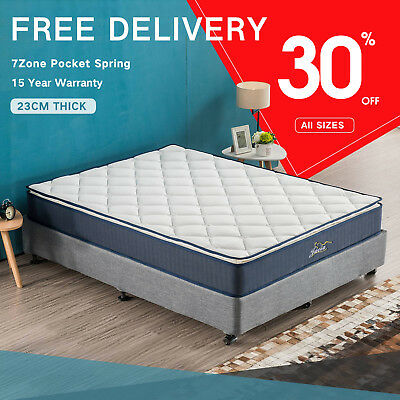 King Single Mattress Double Bed 7Zone Pocket Spring Luxury Foam Pillow Top Queen