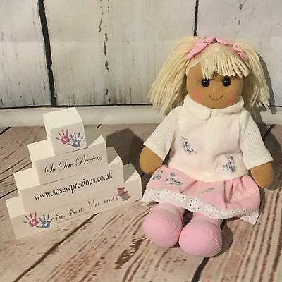 Personalised embroidered rag doll, princess, christening gift, new baby 40cm