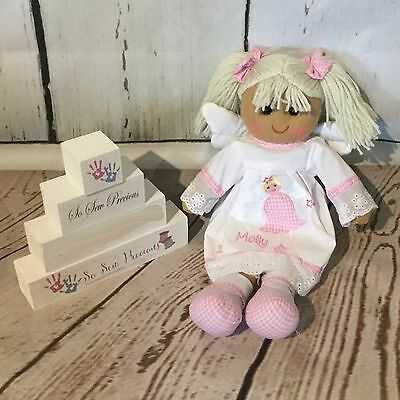 Personalised embroidered rag doll, angel, christening gift, new baby 40cm